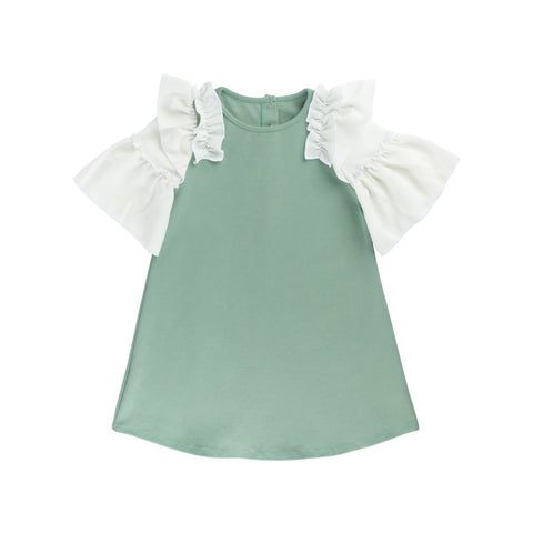 Ivory + Sage Ruffle Shift Dress - By Posh