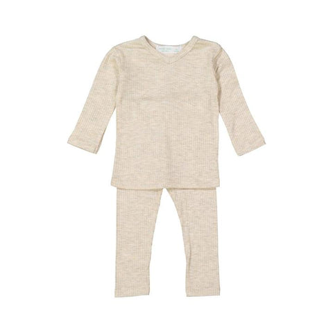 Heather Oatmeal Silky Soft Ribbed V- Neck Set