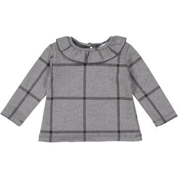 Gray Plaid Posh Winter Weave Ruffle Sweater X Eishes Style Collection