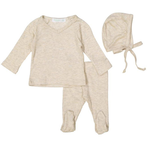 Heather Oatmeal Silky Soft Ribbed V- Neck Set W/ Feet + Bonnet