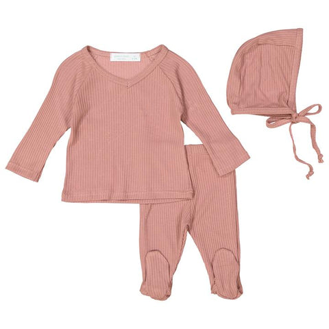 Rose Silky Soft Ribbed V- Neck Set W/ Feet + Bonnet