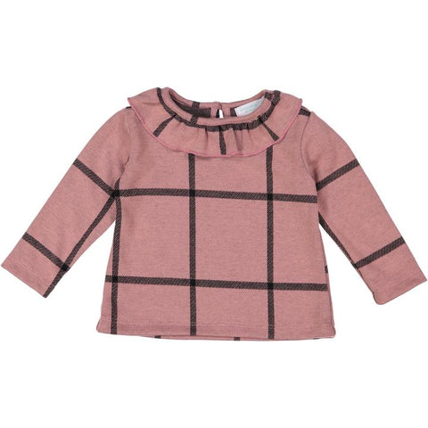 Rose Plaid Posh Winter Weave Ruffle Sweater X Eishes Style Collection