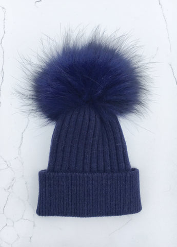 Dark Blue Ribbed Angora Hat