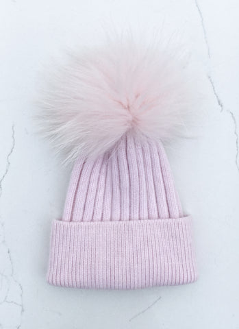 Pink Ribbed Angora Hat