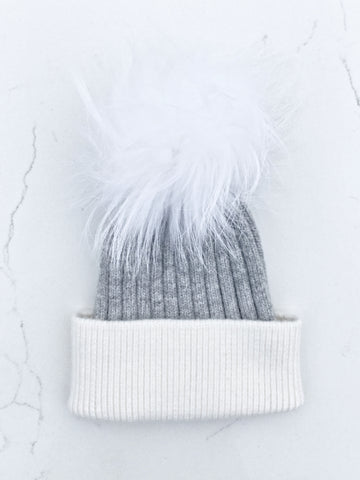 Color Block Gray/White Ribbed Angora Hat