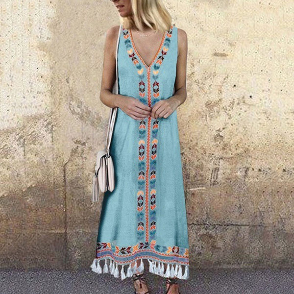 Sexy V Neck Floral Printed Tassel Sleeveless Maxi Dress