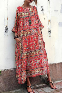 Mocris Cotton And Linen Printed Ethnic   Style Short Sleeve Loose Vacation Dress