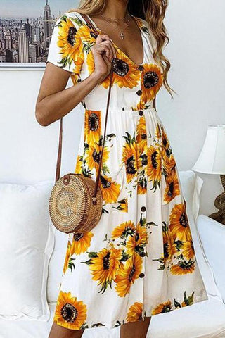 Fashion Print Sunflower Button Low-Collar Floral Dress