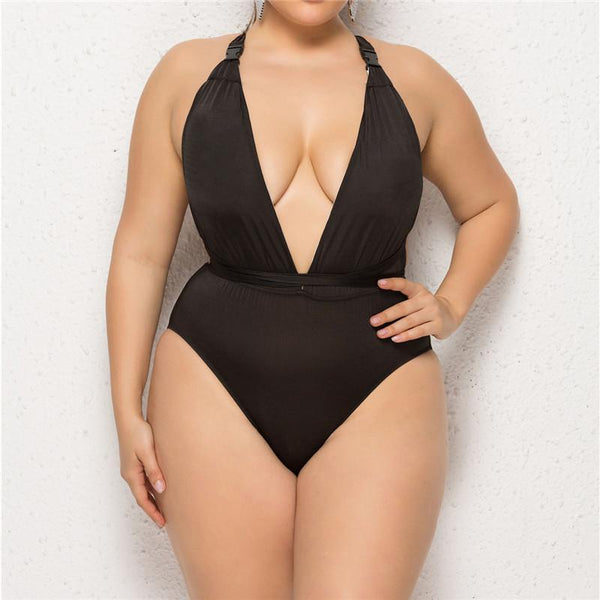 Large Size One-Piece Swimsuit One-Piece Deep V Sexy Female Swimsuit