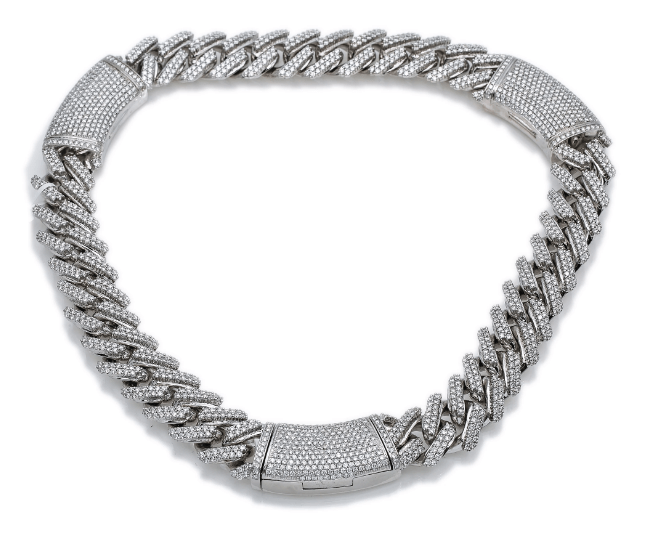 10K White Gold Men's Chocker 3 Locks Design With 34.26 CT Diamonds - Drip Depot Jewelers