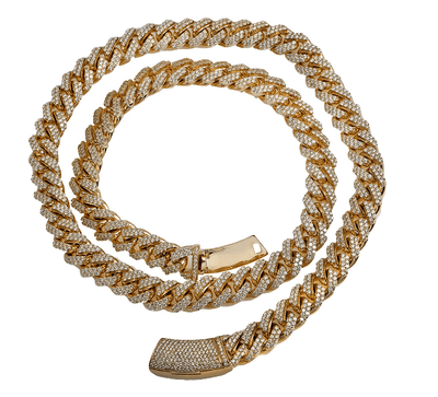 14K YELLOW GOLD ICED OUT DIAMOND CUBAN LINK CHAIN 36.35 CARATS - Drip Depot Jewelers