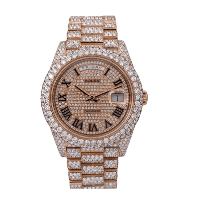 ROLEX DAY-DATE DIAMOND WATCH, 228235 40MM, ROSE GOLD DIAMOND DIAL WITH 25.25 CT DIAMONDS - Drip Depot Jewelers