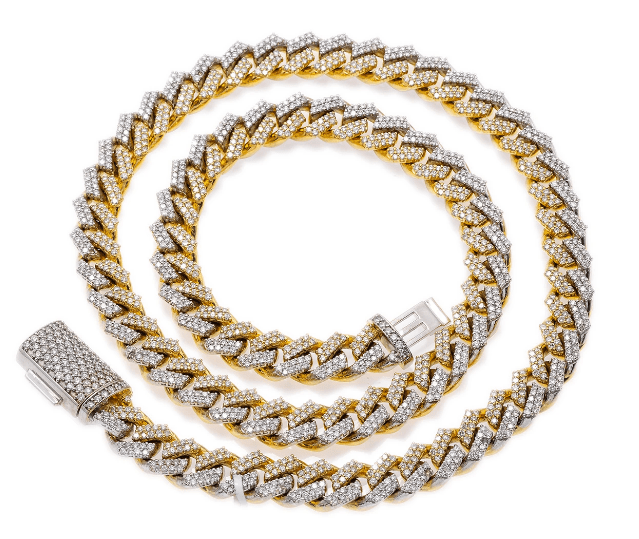 "10K TWO TONE YELLOW AND WHITE GOLD 22"" CUBAN CHAIN PRONG SETTING WITH 19.75 CT DIAMONDS - Drip Depot Jewelers"