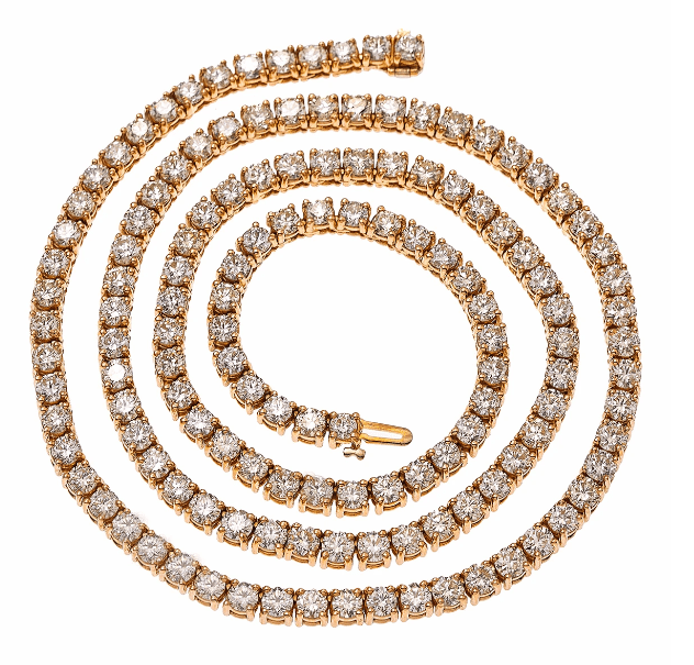 "14K ROSE GOLD 23"" MEN'S TENNIS CHAIN WITH 35.50 CT DIAMONDS - Drip Depot Jewelers"