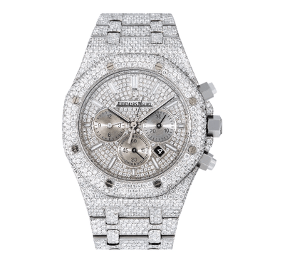 AUDEMARS PIGUET ROYAL OAK CHRONOGRAPH 26320ST 42MM SILVER DIAMOND DIAL WITH STAINLESS STEEL BRACELET - Drip Depot Jewelers