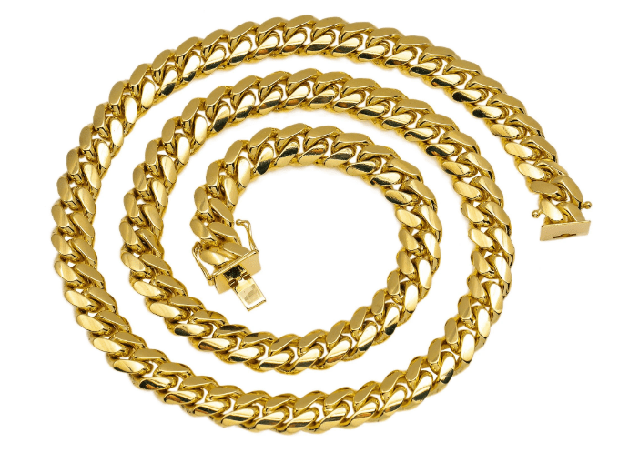 MEN'S SOLID MIAMI CUBAN LINK CHAIN 10K YELLOW GOLD - Drip Depot Jewelers