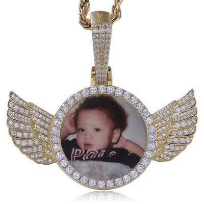 Gold Custom Picture Diamond Angel Wings Pendant + Chain - Drip Depot Jewelers