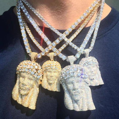 Fully Iced Out Jesus Piece Pendant Chain Set - Drip Depot Jewelers