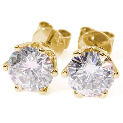 14K Yellow Gold  0.8 to 4.ct F Color Moissanite Stud Earrings - Drip Depot Jewelers