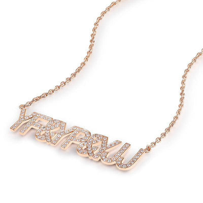 DIY Letters Pendant & Necklace Real 18k Rose Gold - Drip Depot Jewelers