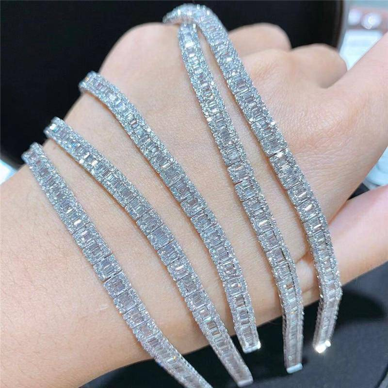 925 Silver Paved Square Diamond Unisex Bracelet - Drip Depot Jewelers