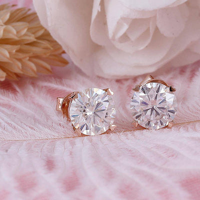 14K 585 Rose Gold 2CTW 6.5mm FGH Color Moissanite Stud Earrings - Drip Depot Jewelers