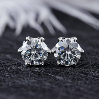 1ct 14k Gold Stud Earrings 6.5MM FG Moissanite Diamonds - Drip Depot Jewelers