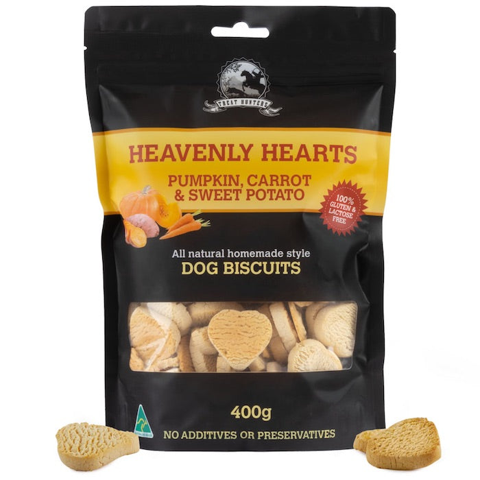 Pumpkin, Carrot, and Sweet Potato Heart Shaped Dog Biscuit - 400g