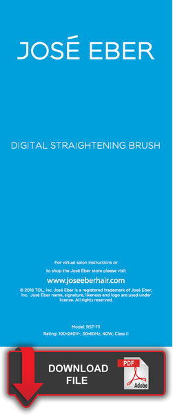 Jose Eber Digital Straightening Brush - Product Instructions
