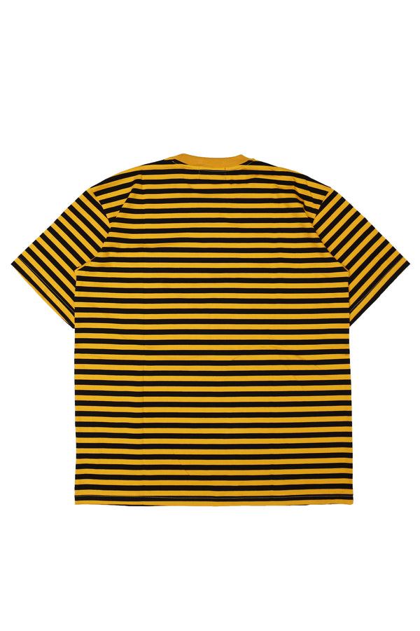 W.ESSENTIELS Boxy Cut Pocket Tee Stripe Mustard/Noir