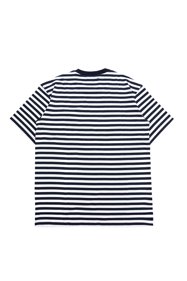 W.ESSENTIELS Boxy Cut Pocket Tee Stripe Navy/White