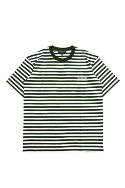 W.ESSENTIELS Boxy Cut Pocket Tee Stripe Forest/White