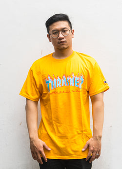 Thrasher x Champion Blue Flame S/S Yellow Gold
