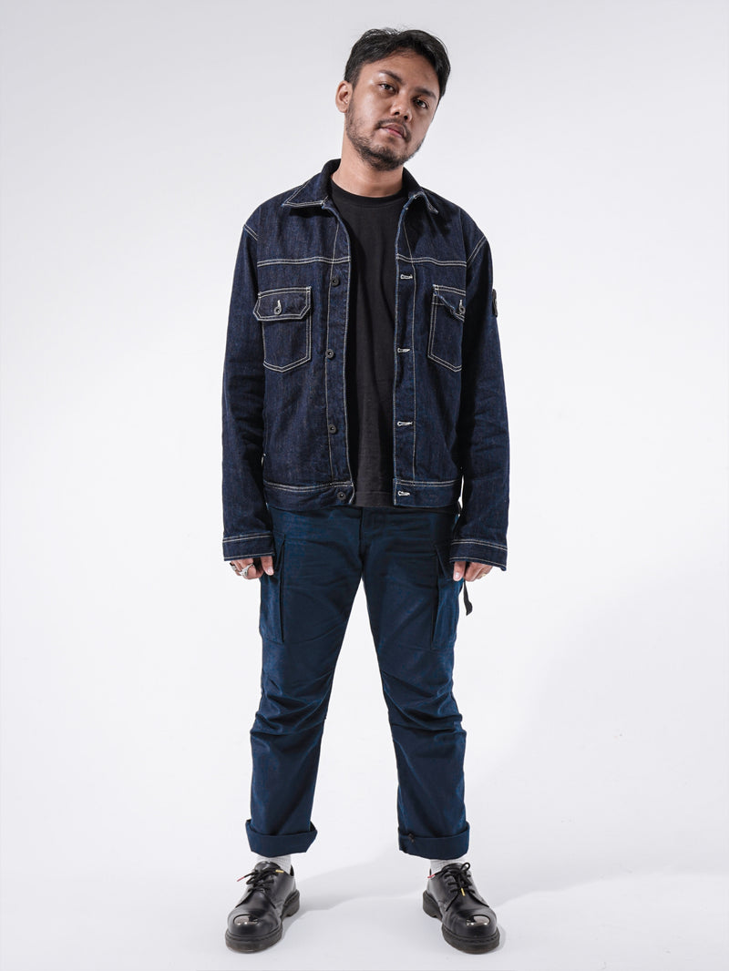 Girard-Léno Embroidered Detail Denim Jacket Rinse Washed
