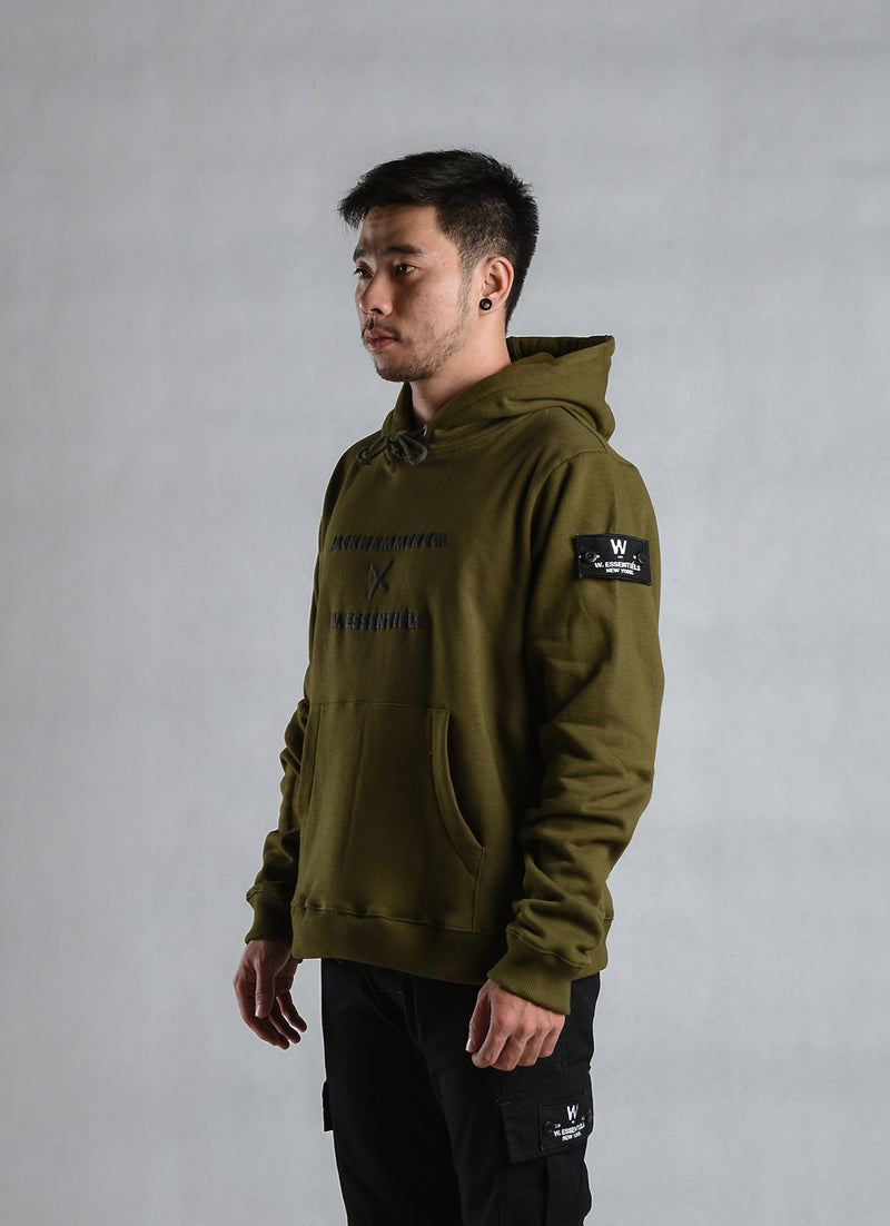 W.ESSENTIELS x Jackhammer Script Hoodie Military Green