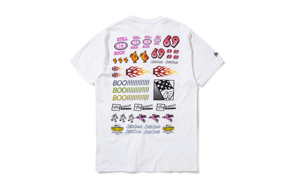 Racecar Sticker Pack Tee White