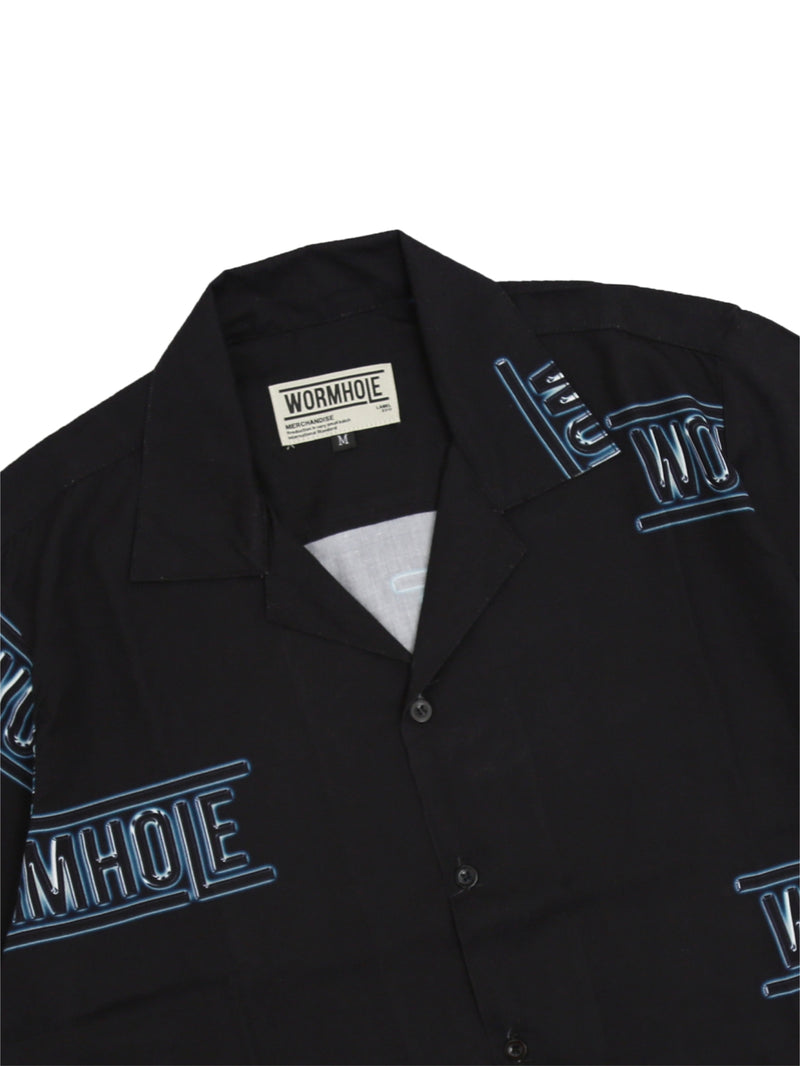 Wormhole Neon Logo Full Print Bowling Shirt