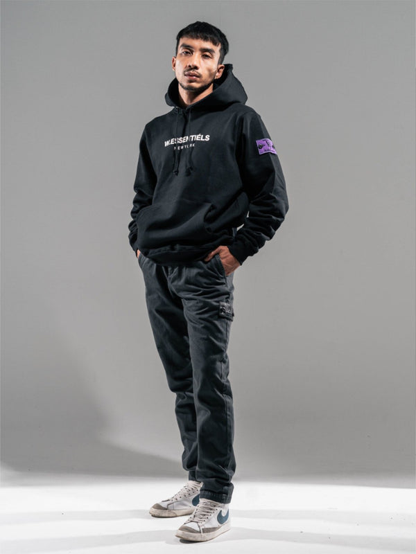 Ecume Oversize Hoodie UV Activated Noir Black / White to Purple