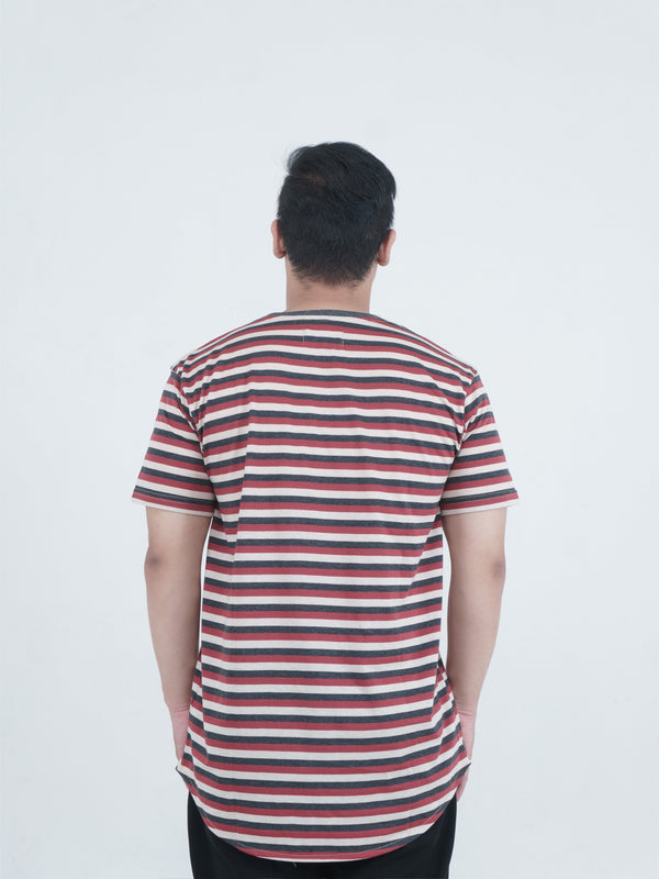 Chest Logo Stripe Maroon/Tan/Black