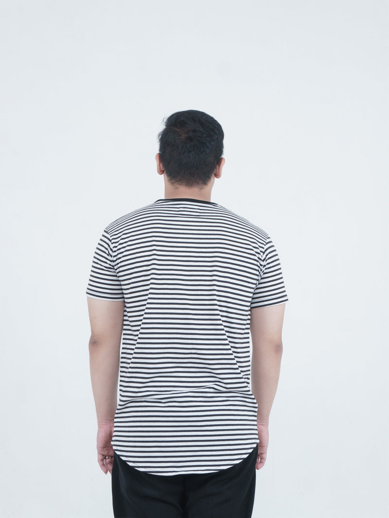 Black Stripe Chest Logo Oversize Tee