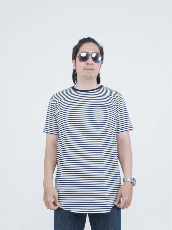 Navy Stripe Chest Logo Oversize Tee