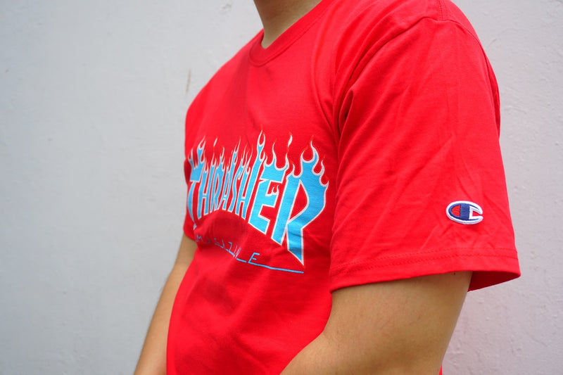 Thrasher x Champion Blue Flame S/S Red