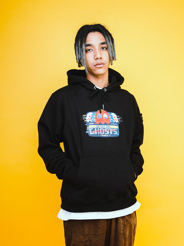 W.ESSENTIELS x Faith x PAC-MAN™ Glitch Hoodie Black