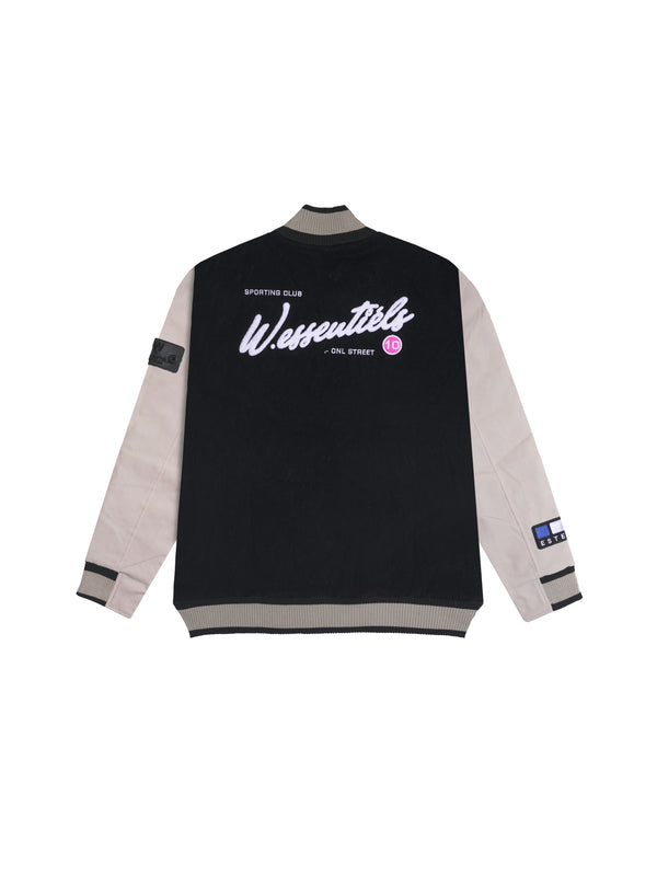 W.ESSENTIELS Spenatto Vintage Applique Varsity Jacket Noir Black/Sand