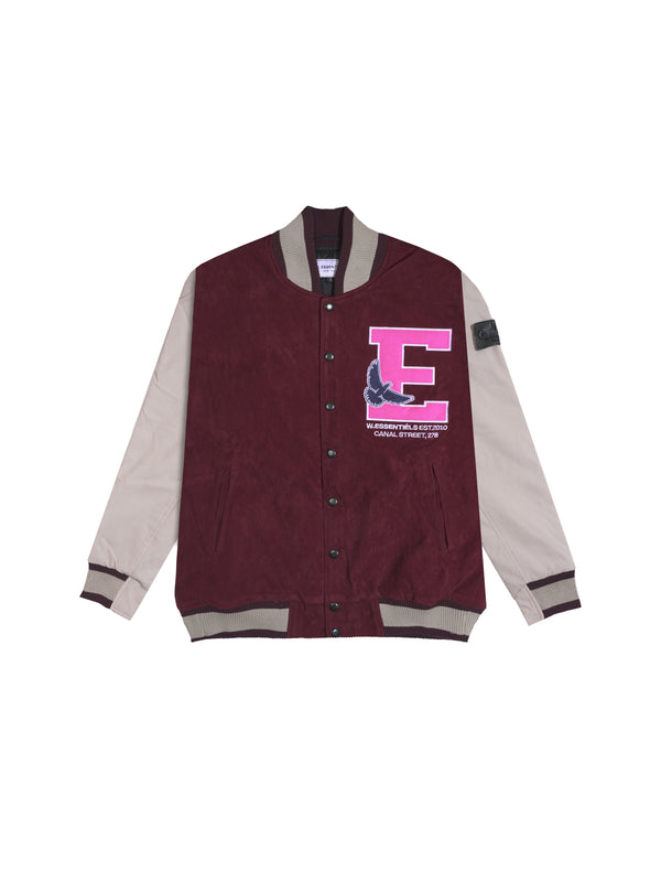 W.ESSENTIELS Spenatto Vintage Applique Varsity Jacket Dark Ceglie/Sand