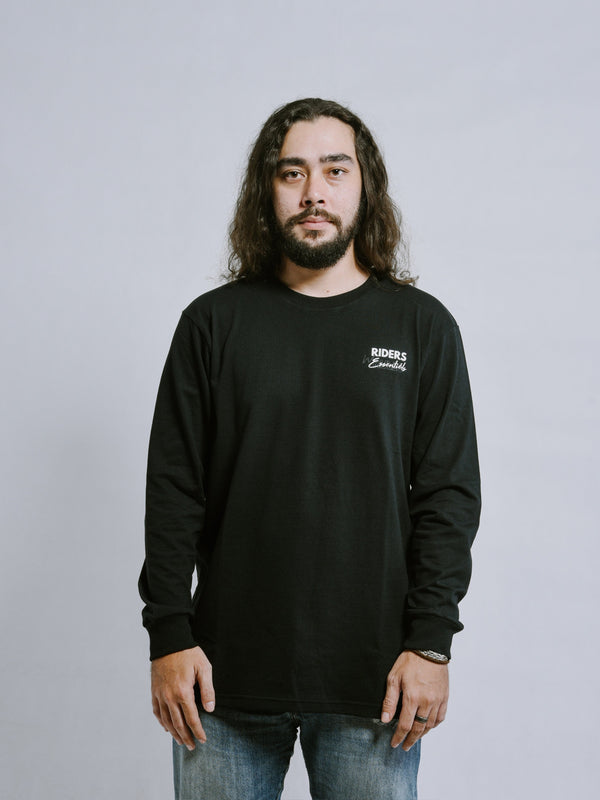 W.ESSENTIÉLS x Riders & Rules General Strike Long Sleeve Tee Black