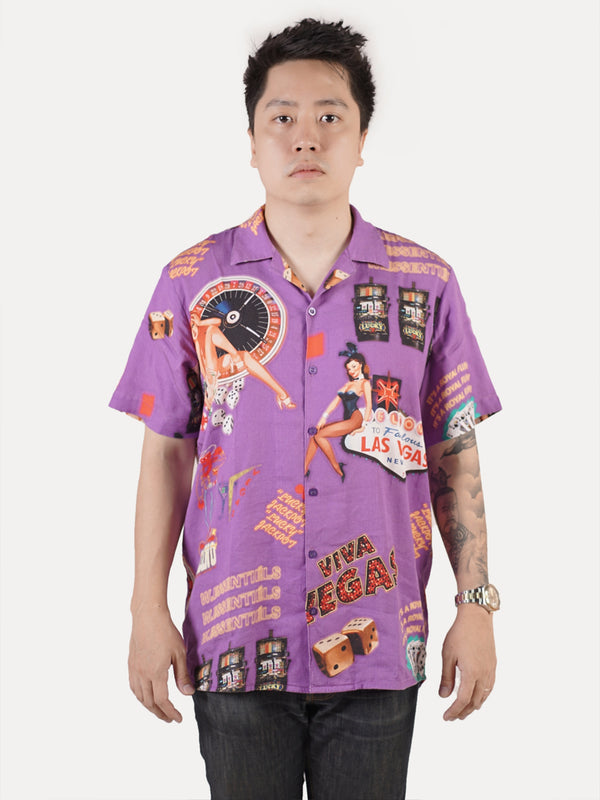The Cromwell full print Shirt Purple w/Tencel®