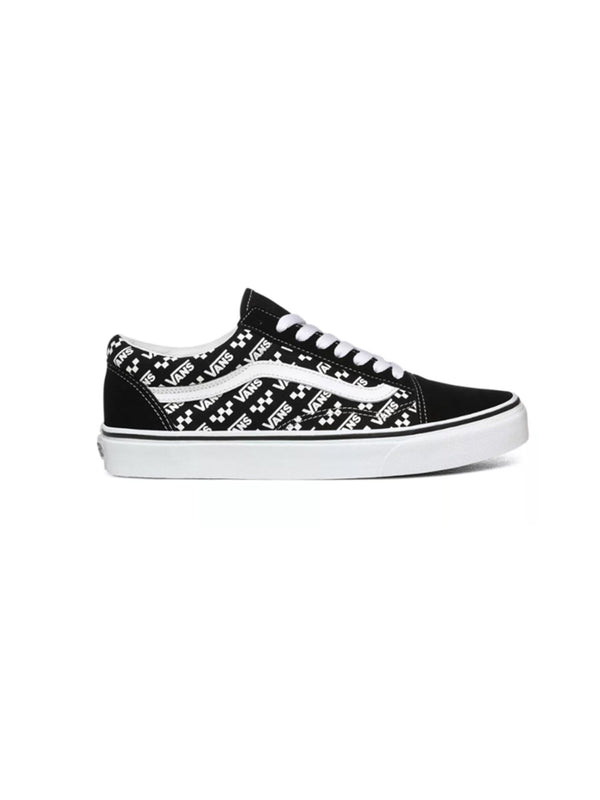 VANS LOGO REPEAT OLD SKOOL SHOES BLACK/TRUE WHITE