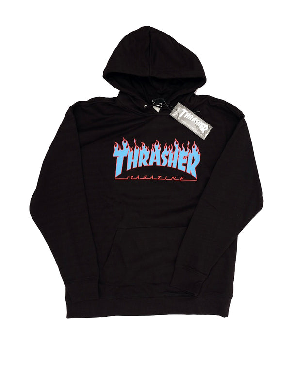 Thrasher Flame Hooded Black