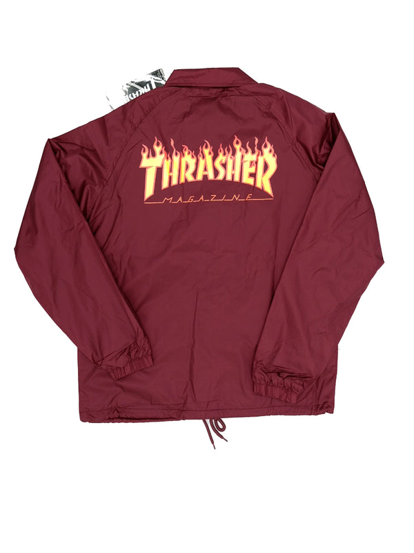 Thrasher Flame Coach Jacket Maroon